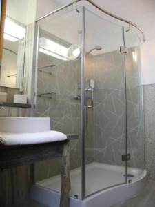 Hotel room bathroom with shower