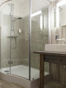 Hotel room Hotel Dresdner Hof Zittau bathroom with shower